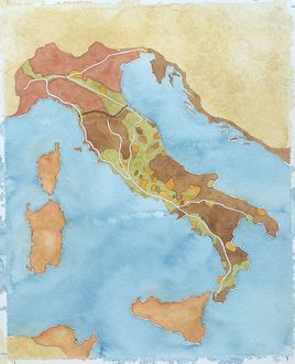 Map of Italy illustrates territorial subdivisions at outbreak of Social War, 91 BC