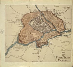 Map of Medieval Treviso, from Medieval Treviso by Angelo Marchesan, engraving