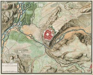 Map of Mont-Dauphin, from, Cartes des environs de Plusieurs places, watercolor drawing