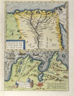 Map of the Nile Delta and of ancient city of Carthage, from Theatrum Orbis Terrarum