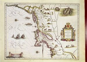 Map of Nova Belgica or New Belgium and of Anglia Nova or New England by Willem Janszoon Blaeu