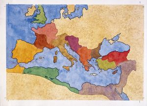 Map of Roman empire under Emperor Diocletian rule (AD 284-305), drawing