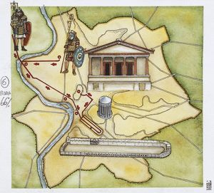 Map of Rome: camp, temple of Vesta, Circus Maximus, Capitoline Hill and the temple of Jupiter