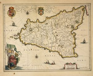 Map of Sicily, by Willem Blaeu, from Regionum Italiae, engraving