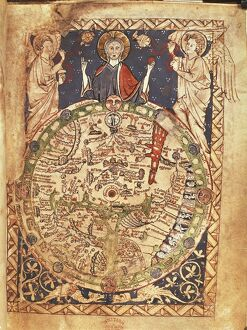 Mappa Mundi, ink and colors on parchment, created in London about 1265