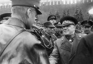 Marshal georgy zhukov greeting foreign military attaches during the time of the victory