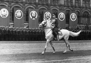 Marshal georgy zhukov riding across red square, reviewing the troops, prior to the