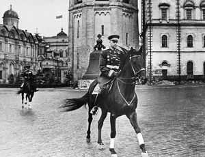 Marshal of the soviet union, konstantin rokossovsky, on his way to red square