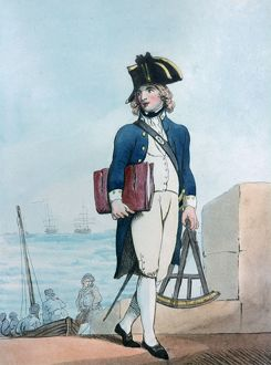 Midshipman, 1799. The young man is carrying a sextant which was used for making