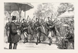The Military Exhibition: The Pipers Of The Argyle And Sutherland Highlanders Parading