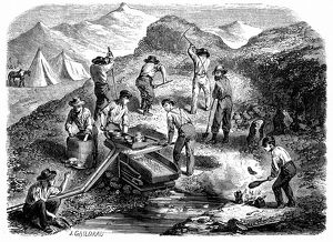 Miners panning for gold during Californian Gold Rush