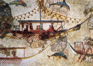 Minoans Traders: wall painting from Acrotiri in Thera (Santorini) showing Minoan ships