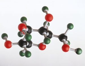 Model of a glucose molecule, showing the atomic structure of Oxygen, Carbon and Hydrogen
