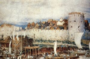 Moscow kemlin in the 14th century, in the days of dmitri donskoi, painting by apollinari