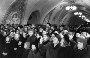 Moscow residents at the opening of the new taganskaya metro station, ussr, january 1950