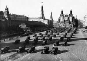 Motorized infantry during a military parade in red square celebrating the 23rd anniversary