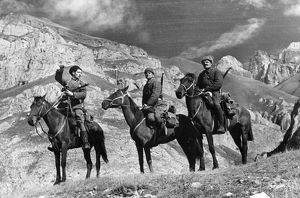Mounted red army scouts in the mountains of the northern caucasus, november 1942
