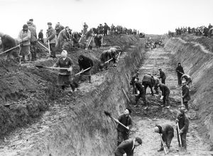 Muscovites dig anti-tank ditches in moscow region, during world war ll, october 1941.