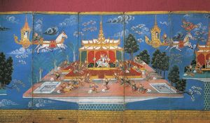 Myanmar, King Nimi Jakat visiting the underworld and the skies in the charioteer of Indra