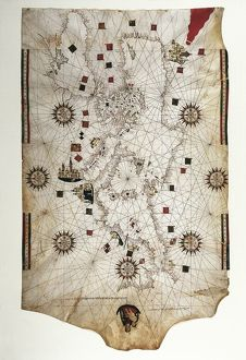 Nautical chart of the Mediterranean and Black Sea by Banet Panades, 1557