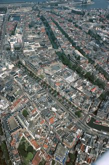 Netherlands, Amsterdam, Aerial view of canal ring area