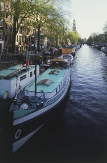 The Netherlands, Amsterdam, houseboats on Prinsengracht