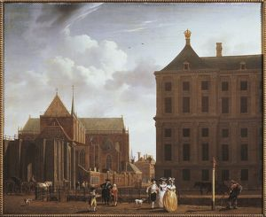 Netherlands, Amsterdam, Nieuwe Kerk (New Church), by Isaak Ouwater, illustration