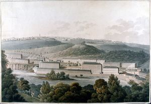 New Lanark Mills, Scotland. Robert Owen's (1771-1858) model community of cotton mills