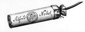 Nobel Explosives Company Limited, Ardeer, Ayrshire. Cartridge packed with Dynamite