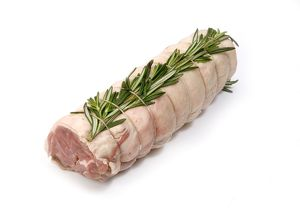 Whole noisette of lamb tied and topped with rosemary