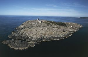 Norway, Hordaland, Island of Marstein and lighthouse built in 1887, aerial view