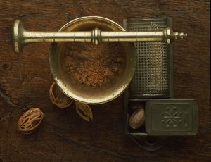 Nutmeg Grater and Brass Pestle and Mortar