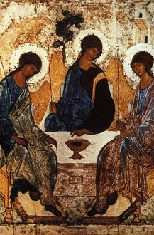 Old testament trinity by andrei rublev, c, 1410 - 1420, tempera on panel.