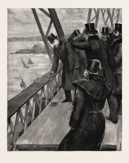 OPENING OF THE FORTH BRIDGE, THE PRINCE CLINCHING THE LAST RIVET, engraving 1890, UK, U