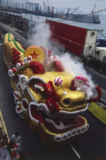 Ox-shaped float with smoke billowing from the nostrils, used in the New Year celebrations.