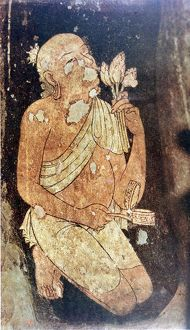 Painting of a Buddhist monk from the Ajanta cave temples, India. 5th-6th century AD