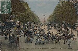Paris, Boulevard Montmartre, Postcard from early 1900s