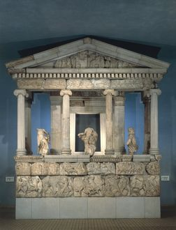 Partial reconstruction of the Monument of the Nereids of Xanthos in Lycia, circa 390-380 b