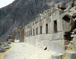 Peru, Ollantaytambo, wall of a religious Inca building