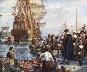 The Pilgrim Fathers boarding the 'Mayflower'