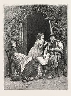 THE PLAGUE OF THE VILLAGE, MAN, WOMAN, CHILD, OUTDOORS, ENGRAVING 1876