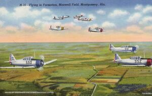 Planes Flying in Formation. ca. 1941, Montgomery, Alabama, USA, M-36--Flying in Formation