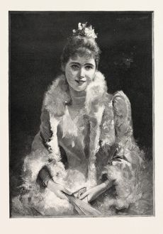 AT THE PLAY; A LADY AT THE THEATRE, 1893 engraving