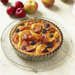 Plum, apple and blackberry fruit tart