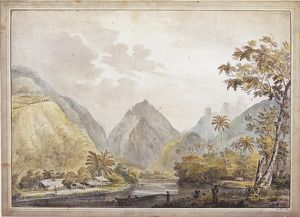 Polynesia, View of Otaheite (Tahiti) by John Webber from James Cook's Third Voyage (1776-1780)