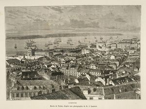 Portugal, Lisbon, Tagus River and Praca do Comercio (Commerce Square) district, engraving