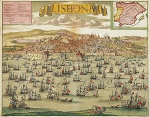 Portugal, view of Lisbon, coloured engraving, about 1704