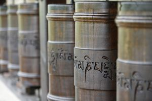 Prayer wheels in Dhagpo Kagyu Ling Tibetan buddhist monastery
