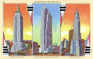 Prominent Skyscrapers of New York. ca. 1936, New York, New York, USA, 211 SKYSCRAPERS