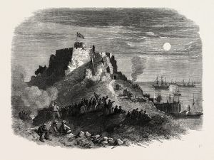 THE QUEEN'S VISIT TO JERSEY. MOONLIGHT VIEW OF MONT ORGEUIL CASTLE, WITH THE ROYAL